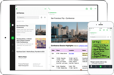 Evernote screenshot on mobile devices