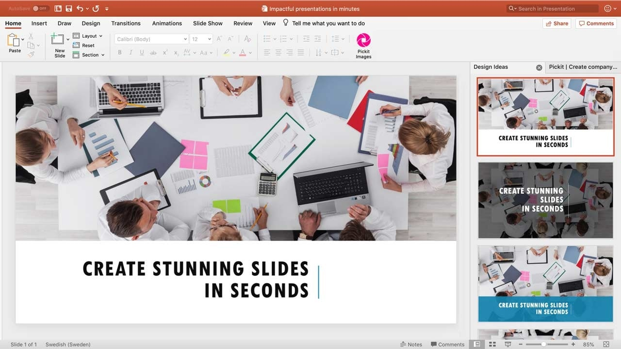 create stunning slides in seconds