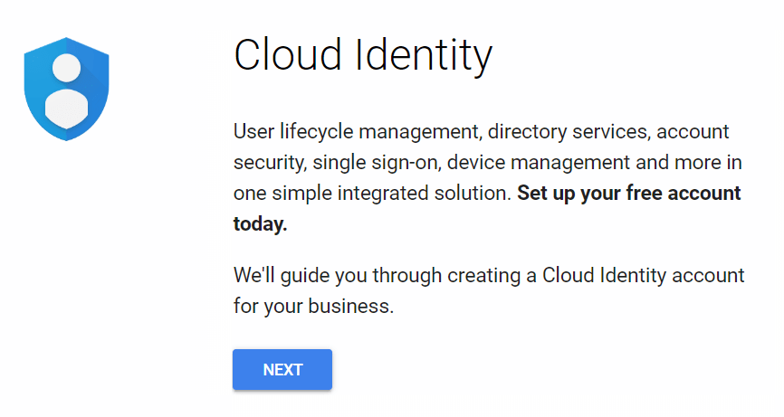 Screenshot of the first screen for setting up Cloud Identity