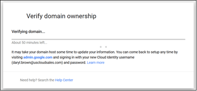 Screenshot of verify domain ownership screen