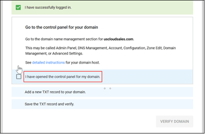 Screenshot of domain ownership screen