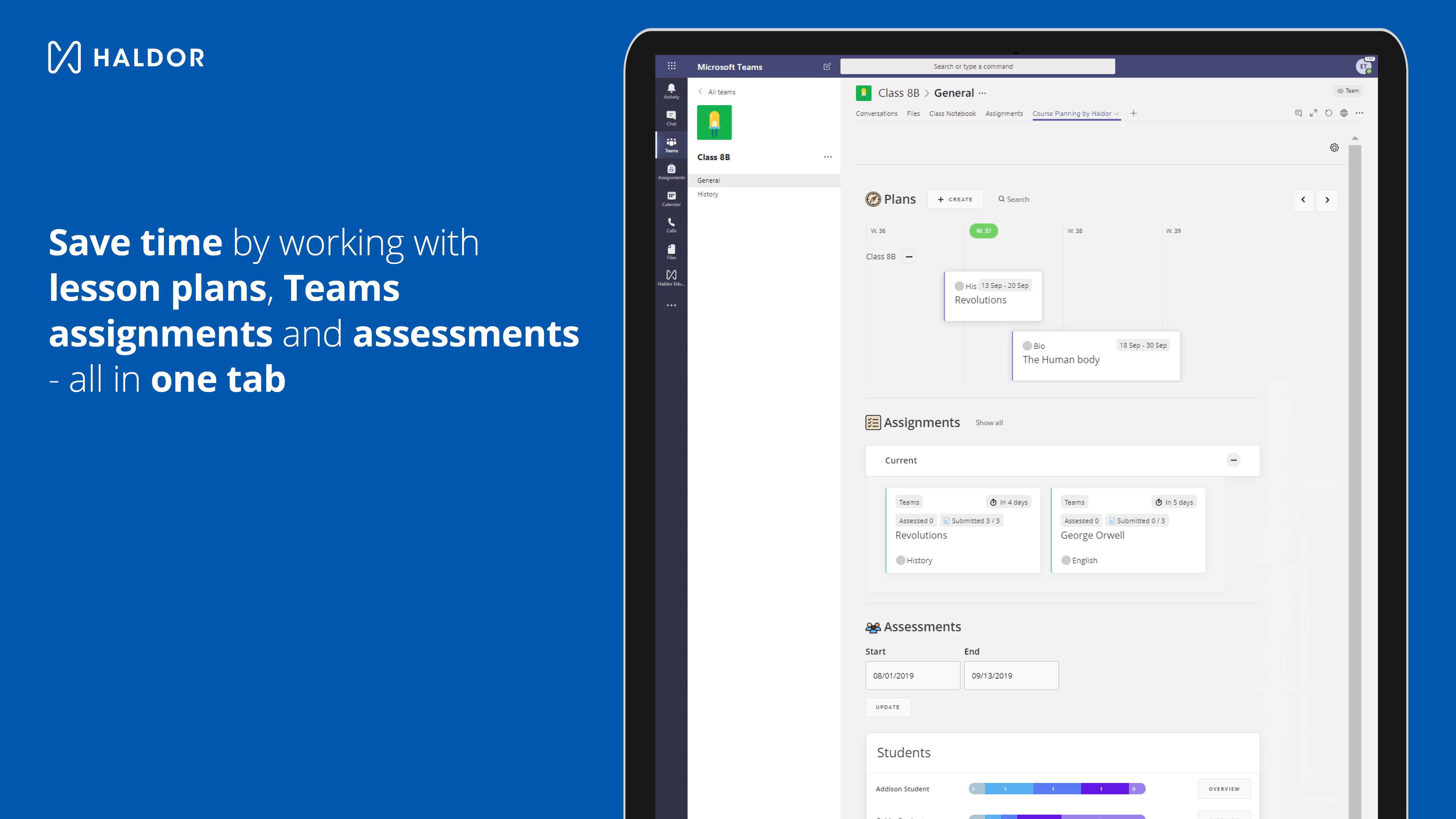 Screenshot - Haldor assignments and assessments