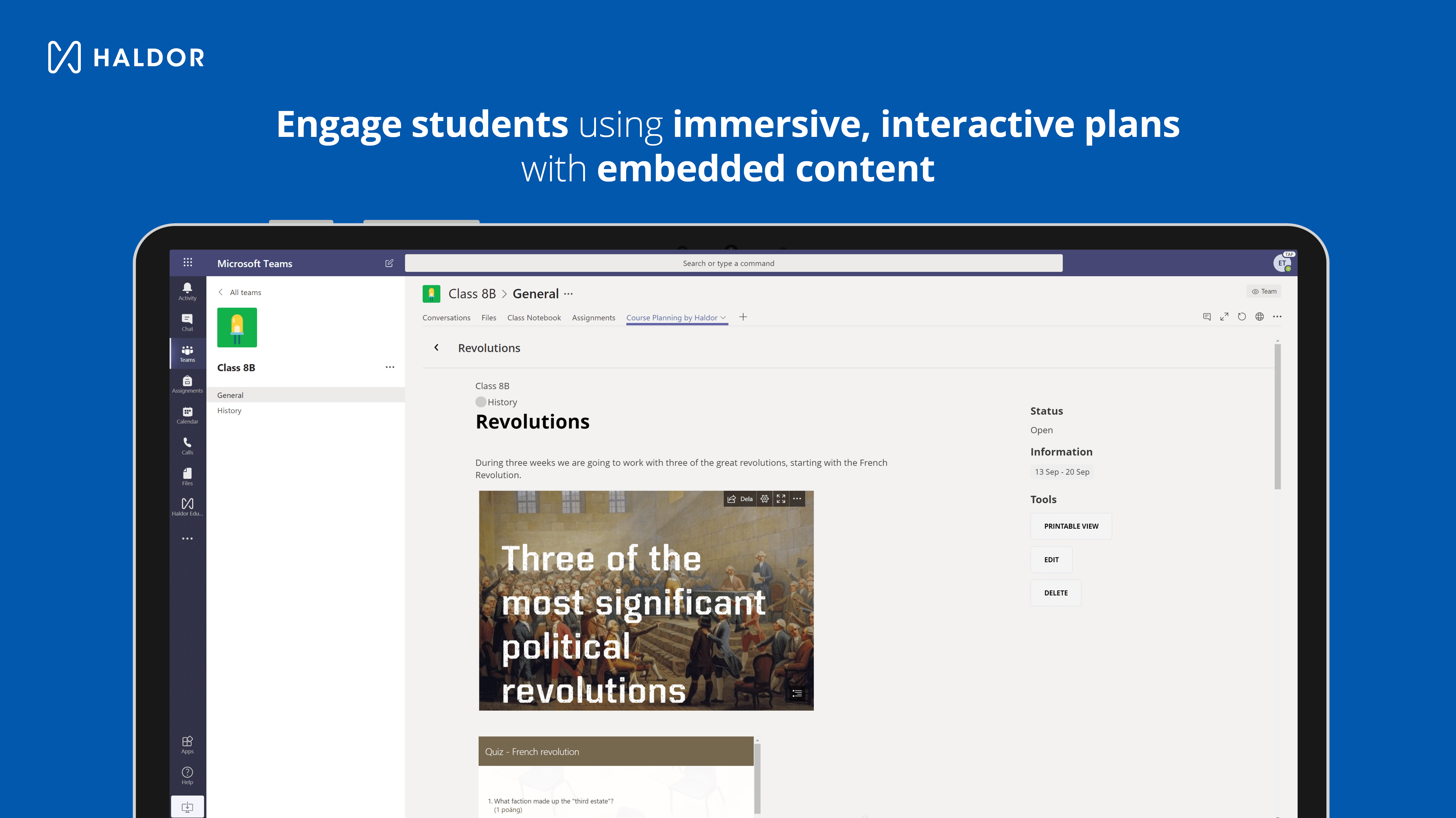 Screenshot - Haldor embedded content